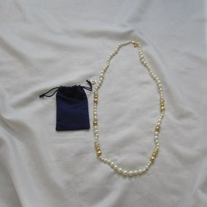 Tory Burch NWOT Capped Crystal Pearl Long Necklace